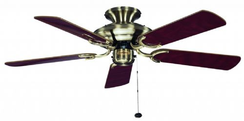 "Fantasia Mayfair 42"" Antique Brass/Dark Oak Blades Ceiling Fan 115434"